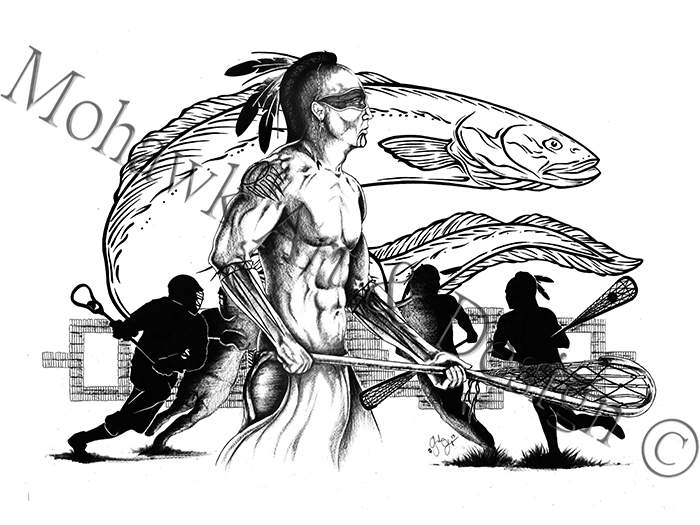 Traditional Lacrosse player with Eel Clan (2013)