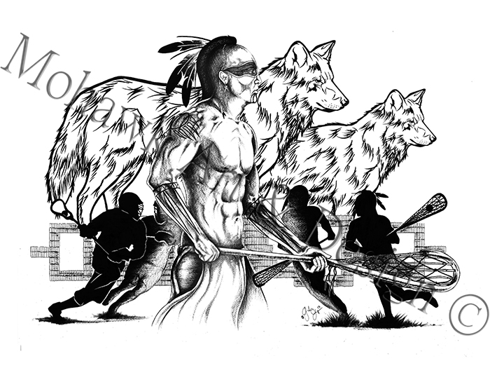 Traditional Lacrosse player with Wolf Clan (2013)